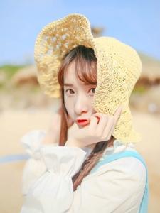 草帽女孩沙滩清纯可爱纯美惹人怜爱