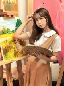 油畫少女嫻靜優雅治愈系笑容甜美純凈