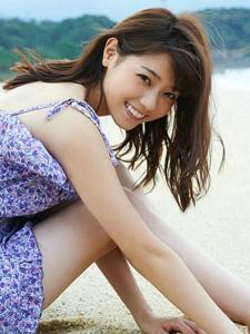 日系美少女西野七濑沙滩薄纱裙写真