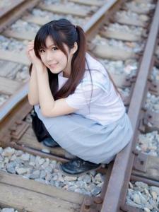 雙馬尾美女蘿莉鐵路制服寫真清純動人