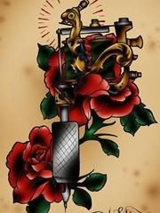 纹身机和花的组合图案