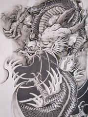 帅气的龙纹身图案手稿素材