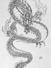 黑灰色霸气的龙纹身图片手稿素材