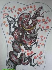 恐怖的蛇手稿素材图案