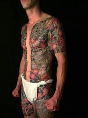 超级炫酷的双半甲纹身图案