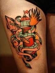 腿部个性的纹身图案