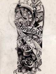 黑白古老鲜花时钟纹身图片