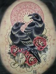 鸾凤和鸣美满纹身图片