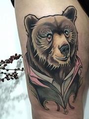 新传统风格的动物头像纹身图案来自于纹身师布莱恩