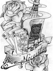 雅致鲜花红酒纹身图片