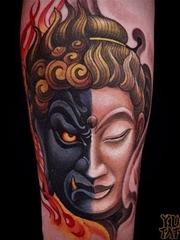 日本彩色新传统传奇人物纹身动物图案纹身 by Yushi Tattoo