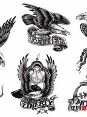 五幅雄鹰刺青手稿图
