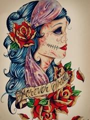 刀疤古典美女刺青图案