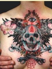 性感女性胸部个性骷髅翅膀眼睛花卉纹身图案