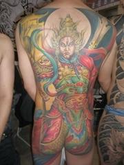 后背全身彩色二郎神紋身作品圖案