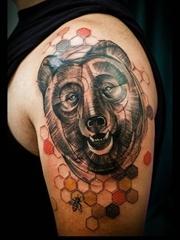 多款帥氣的花臂熊紋身圖案