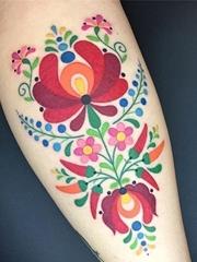 富有色彩的绘画纹身动物和植物纹身图案
