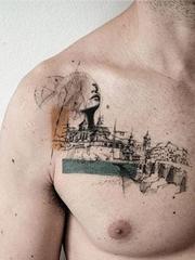 粗略的建筑效果图简易纹身素描纹身图案