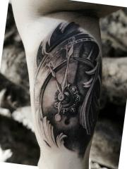 手臂内侧机械时钟3d纹身