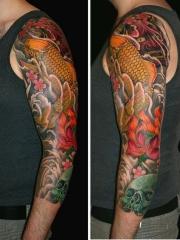 花臂彩绘黄金鲤鱼般若此岸花骷髅纹身图案