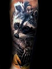 男性手臂上的各种可爱的浣熊纹身图案