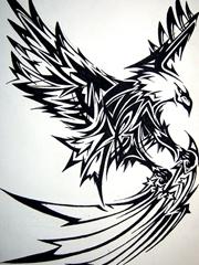 雄鹰纹身图腾手稿