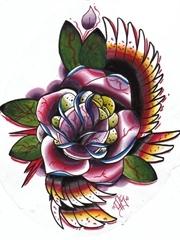 华丽花儿刺青图片