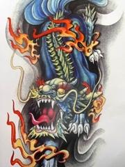 凶猛霸气麒麟纹身手稿图片