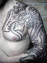 男性超帅气的黑色半甲部落图腾纹身图案