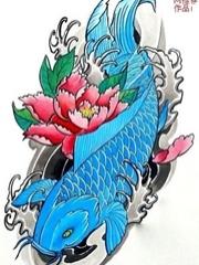 三張荷花和鯉魚刺青圖案欣賞