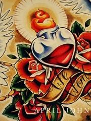 和平鸽爱心纹身图片