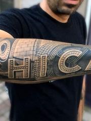 男士手臂3d英文字母个性纹身