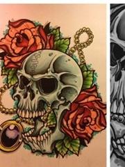 时尚很酷的一张new school骷髅纹身图案