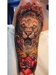 时尚花臂纹身半臂玫瑰花和狮子头纹身图片
