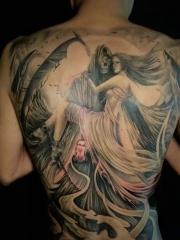 经典满背死神女郎纹身刺青个性十足