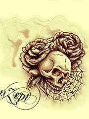 艺术骷髅头与玫瑰刺青图案