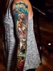 2016年最强烈的现实主义风格花臂纹身图案