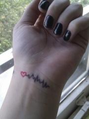 女生手腕心电图爱心纹身图案