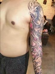 男士花臂老传统个性般若纹身图案