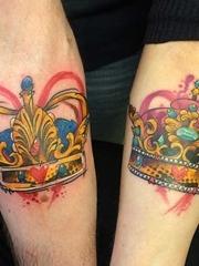 情人同款K&Q的国王皇后的皇冠纹身图案欣赏