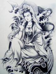 慈爱的不雅音菩萨纹身手稿图