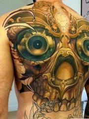 男性独特的嘎巴拉满背彩绘纹身图案