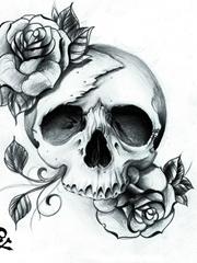 黑色玫瑰与白色骷髅的深渊图案