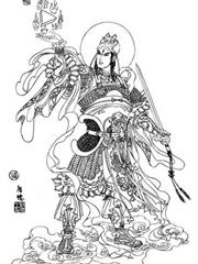 月下二郎神纹身手稿图