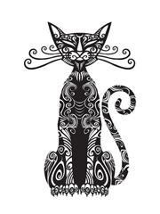 12款漂亮的黑色猫图腾纹身图案手稿素材