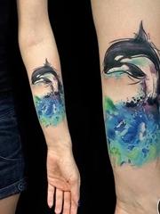 10款可愛的動物紋身鯨魚卡通紋身小圖案