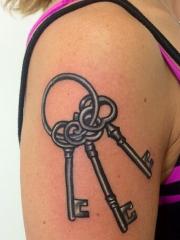 女性手臂一串钥匙纹身图案