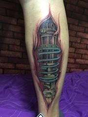 小腿3d黑色机械纹身图案