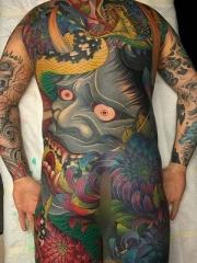 霸气般若与蛇菊花大满背彩绘纹身图片