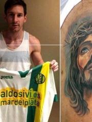 梅西手臂耶稣肖像纹身图案